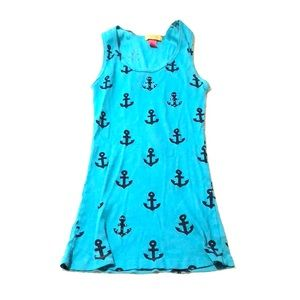 Blue tank with anchors